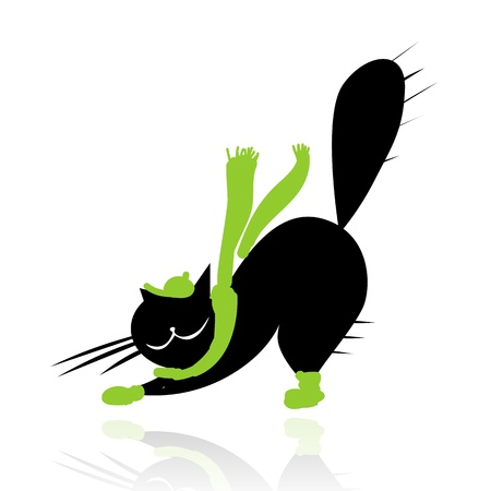 Funny black cat in fashion clothes for your design Vector