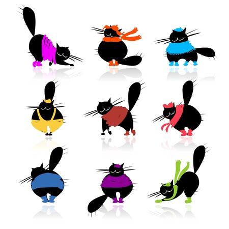 gato dibujo: Divertidos peces gordos negras siluetas en ropa de moda para su dise�o Vectores