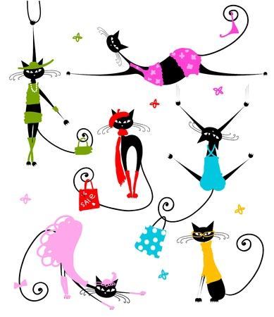 animals and pets: Black cats in fashion clothes for your design