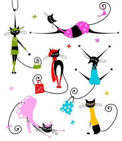silueta de gato: Los gatos negros vestidos de moda para el dise�o de su