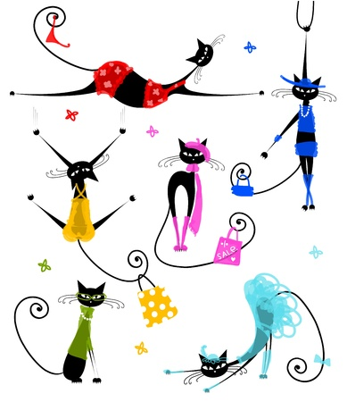 cat tail: Black cats in fashion clothes for your design