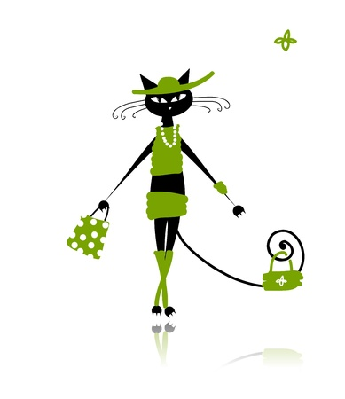 gato dibujo: Gato negro en ropa de moda para su diseño Vectores