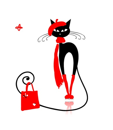 cat silhouette: Black cat in fashion clothes with shopping bag for your design Illustration