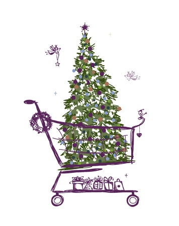 Christmas tree and presents into shopping cart Vector Illustration