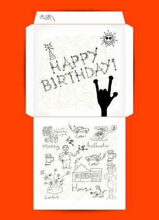 Envelope design, Happy Birthday  Stock Vector - 14946726