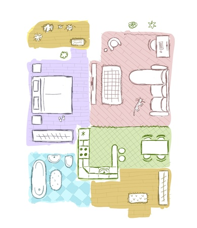 floor plan: Sketch of design interior apartment, hand drawn vector illustration Illustration