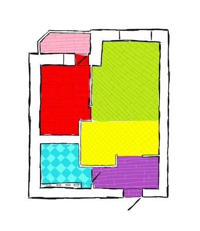 Plan of apartment, hand drawn sketch vector illustration Stock Vector - 14946671