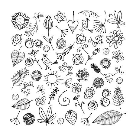Schets van bloemen elementen voor uw ontwerp