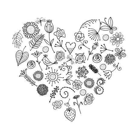 Floral ornament heart shape for your design Stock Vector - 14946691