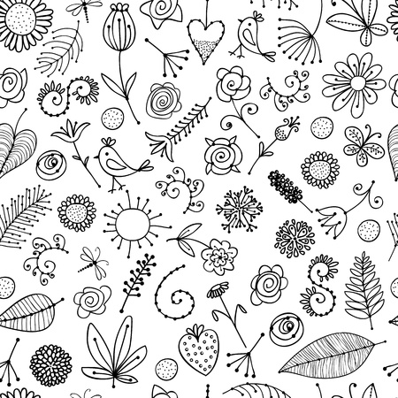 repeat:  Floral ornament sketch, seamless background for your design  Illustration
