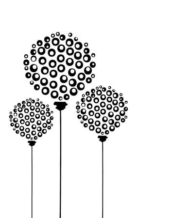 줄기: 추상 민들레 꽃, 디자인에 엽서