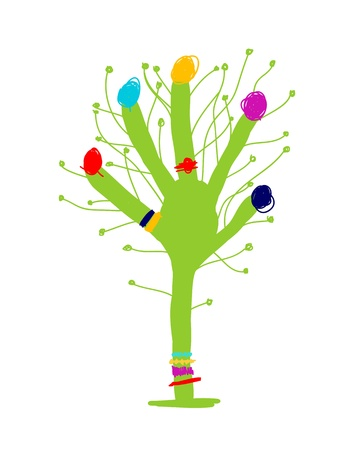 Funny green hand tree for your design Vector
