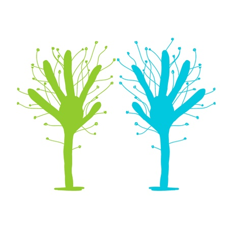 stop hand silhouette: Green and blue tree hands for your design Illustration
