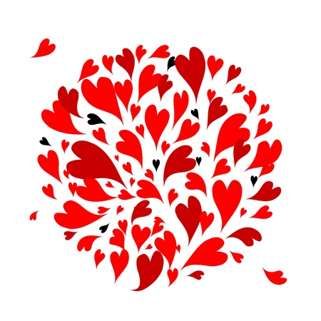 shape: Red hearts background for your design