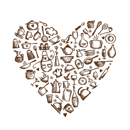 kitchen illustration: I love cooking  Kitchen utensils sketch, heart shape for your design