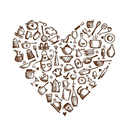 cuchillo de cocina: Me encanta la cocina utensilios de cocina boceto, la forma del coraz�n para su dise�o