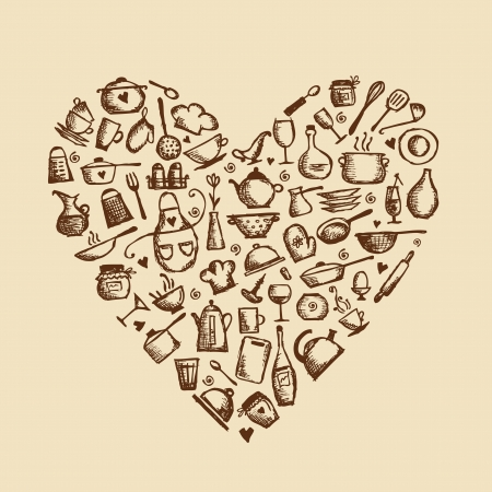I love cooking Kitchen utensils sketch, heart shape for your design
