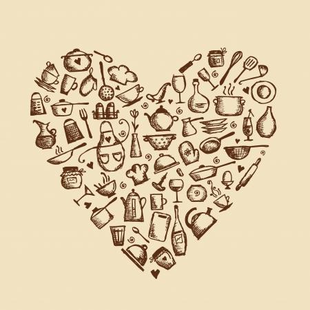 I love cooking  Kitchen utensils sketch, heart shape for your design Vector