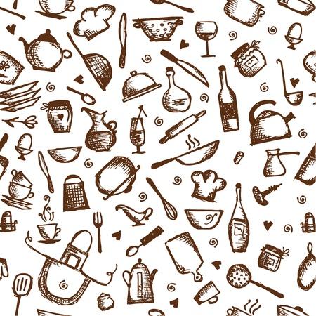 kitchen utensils: Kitchen utensils sketch, seamless pattern Illustration