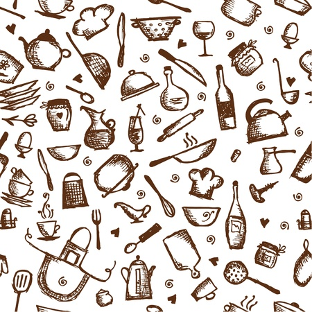 Kitchen utensils sketch, seamless pattern Illustration