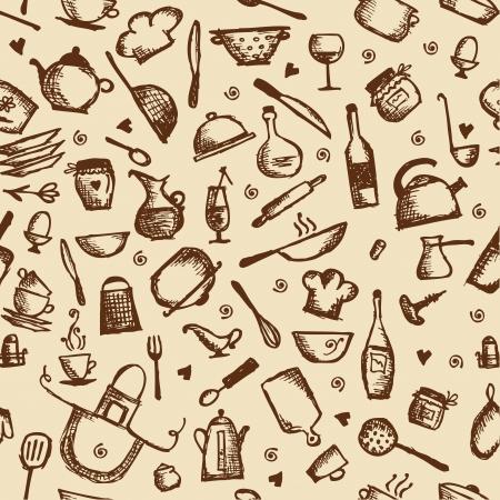 pans: Kitchen utensils sketch, seamless pattern Illustration