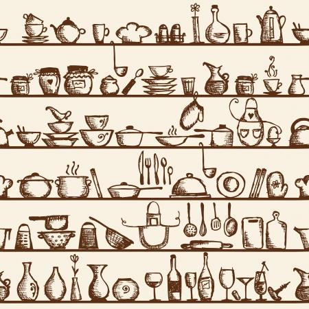 glass shelves: Kitchen utensils on shelves, sketch drawing seamless pattern Illustration