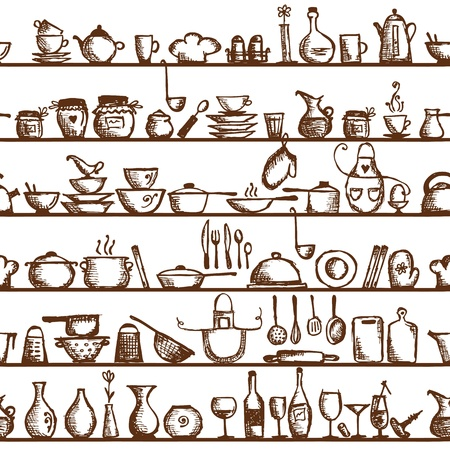 kitchen utensils: Kitchen utensils on shelves, sketch drawing seamless pattern Illustration