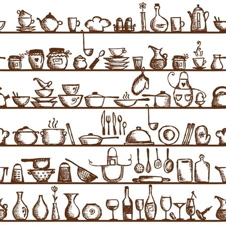 food background: Kitchen utensils on shelves, sketch drawing seamless pattern Illustration