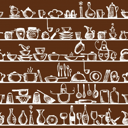 pans: Kitchen utensils on shelves, sketch drawing seamless pattern Illustration
