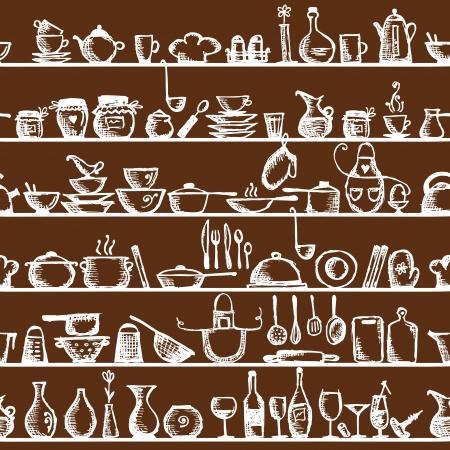 vintage cafe: Utensili da cucina sugli scaffali, schizzo seamless pattern di disegno Vettoriali