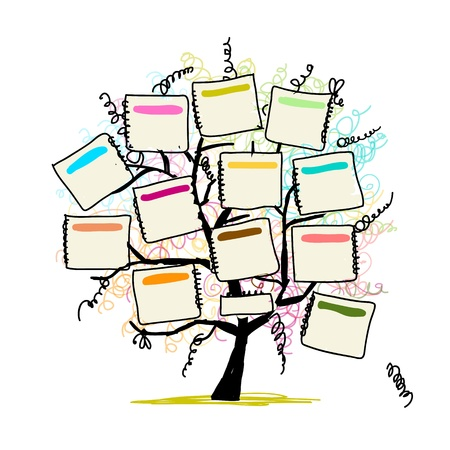 tree decorations: Art tree with papers for your text, hand drawn sketch Illustration