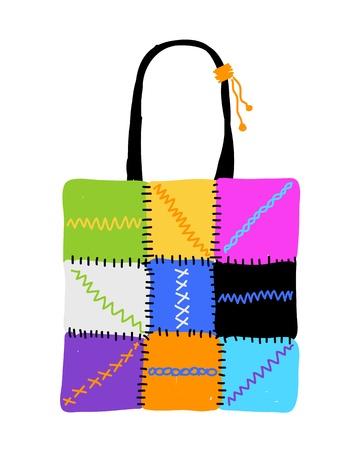 Shopping bag design, hand drawn sketch Vector