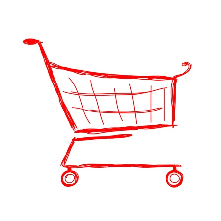 Red shopping cart, sketch for your design Vector