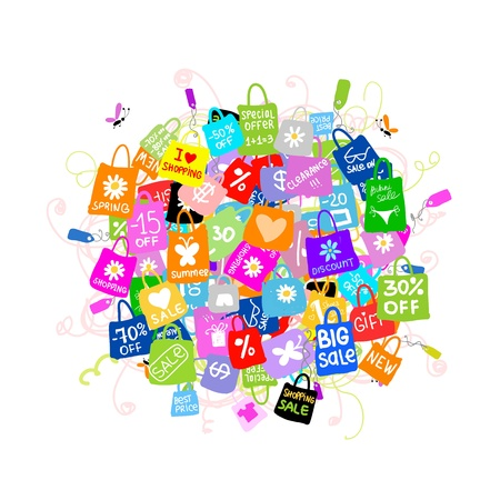 割引: あなたの設計のための買い物袋を持つ大きな販売コンセプト