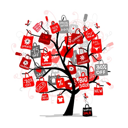 red retail: Shopping bags on tree for your design, big sale concept Illustration
