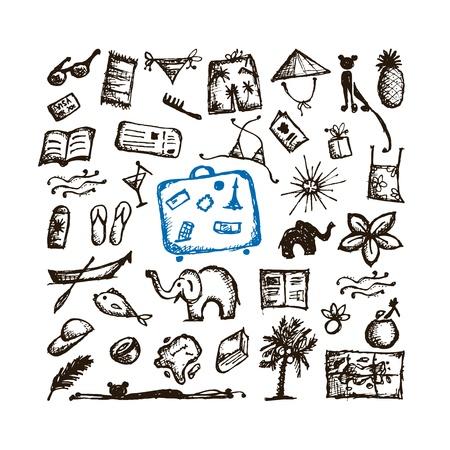 sandal tree: Summer vacations sketch for your design Illustration