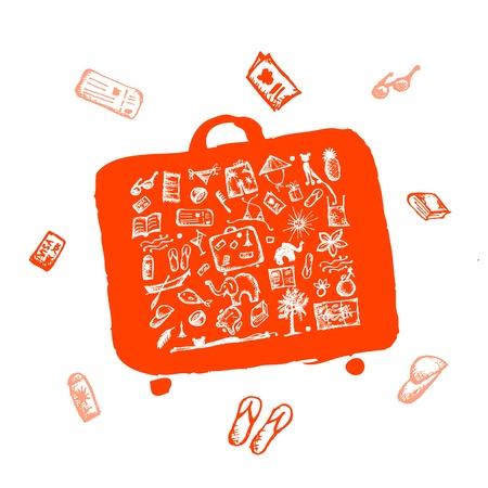 Summer vacations sketch, suitcase orange for your design  Vector