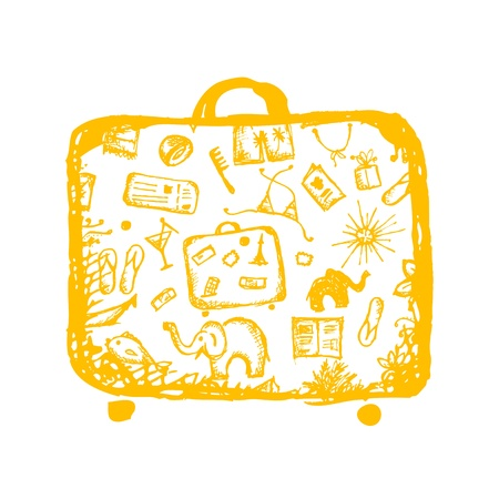 Summer vacations sketch, yellow suitcase for your design  Stock Vector - 14946774