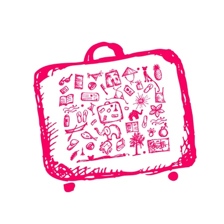 Summer vacations sketch, suitcase for your design  Vector