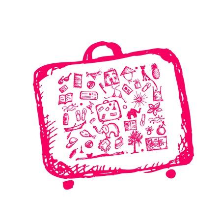 sandal tree: Vacaciones de verano boceto, maleta para su dise�o