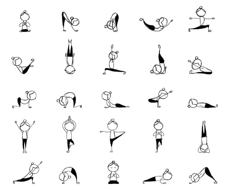 People practicing yoga, 25 poses for your design  Vector