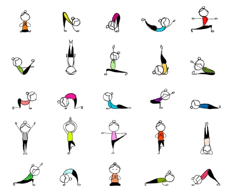 women yoga: People practicing yoga, 25 poses for your design