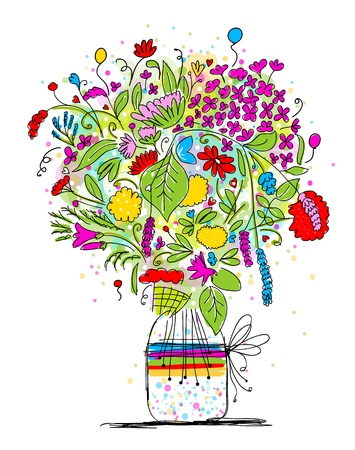 Floral bouquet in jar, sketch for your design Vector