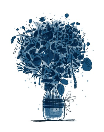 butterfly hand: Floral bouquet in jar, sketch for your design Illustration