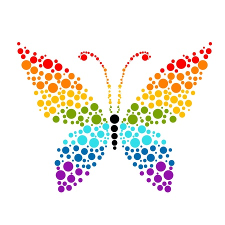 rainbow circle: Dots in shape of butterfly, rainbow colors for your design