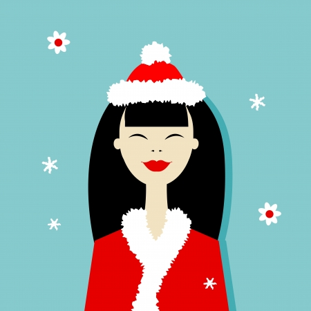 Santa girl, christmas postcard for your design Vector