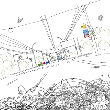 cosmopolitan: Sketch of traffic road in city for your design Illustration