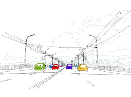 Sketch of traffic road in city for your design Vector