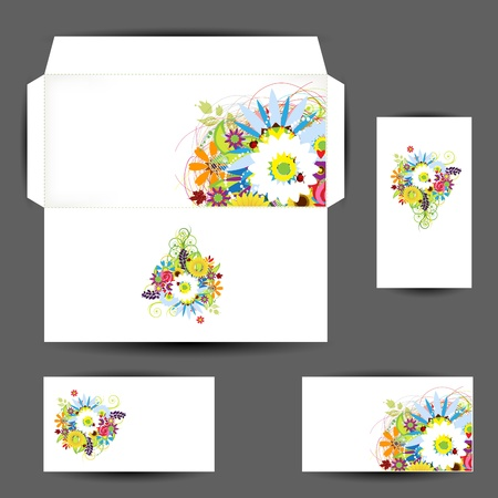 white greeting: Envelope and business cards, floral style for your design Illustration