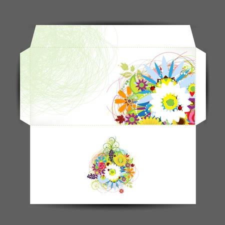 spring message: Envelope, floral style for your design Illustration